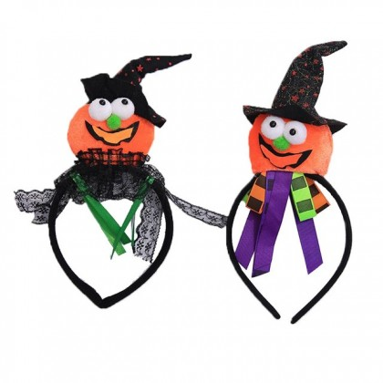 Halloween Hairband Pumpkin Hairband With Purple Ribbon Costume Party Accessories