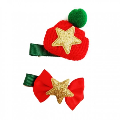 X'mas Hair Clip 2 in 1 Hair Accessories For Girls Kids on Christmas
