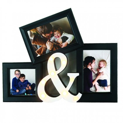 3 In 1 Photo Frame With Led - Black Home Decor Life Memories Gallery