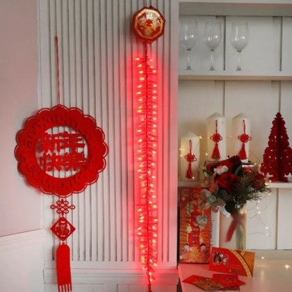 Chinese New Year CNY Firecrackers Deco 1m/2m Light With Sound