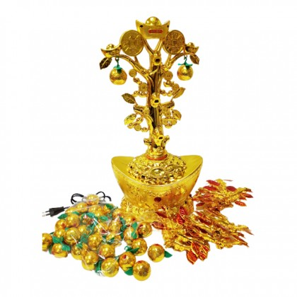 Chinese New Year CNY Rotating Led Cash Cow Lucky Tree Deco