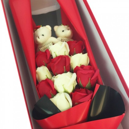 S&J Co. Soap Flower Roses and Bear Scented Bouquet with Luxury Gift Box