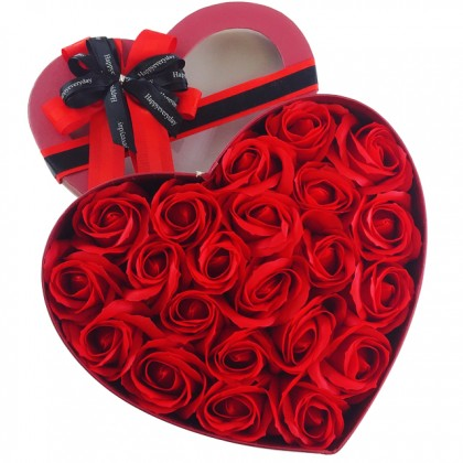 S&J Co. Soap Flower Fancy Roses Scented Bouquet with Heart Gift Box