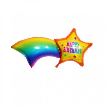 49 Inches Fancy Rainbow Star Happy Birthday Party Decoration Foil Balloon