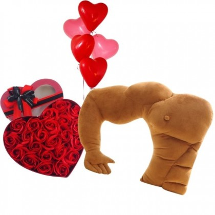 Valentine Package: You're Not Alone with Boyfriend Arm and Roses Soap Flowers Gift Box Balloons Set