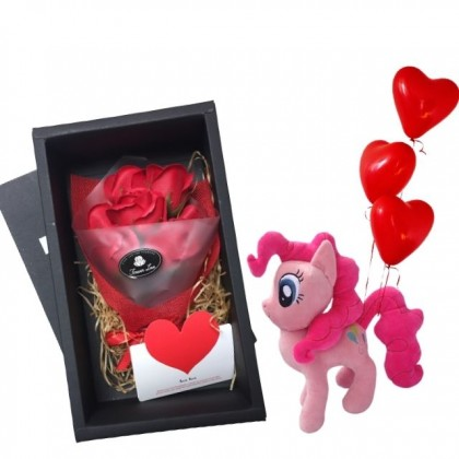 My Lovely Unicorn Girl with Pony Plush and Roses Soap Flowers Gift Box Balloons Set