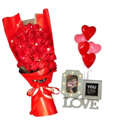 Keep Our Love Alive with LED Photo Frame and Roses Soap Flowers Gift Box with 5pcs Balloons Set