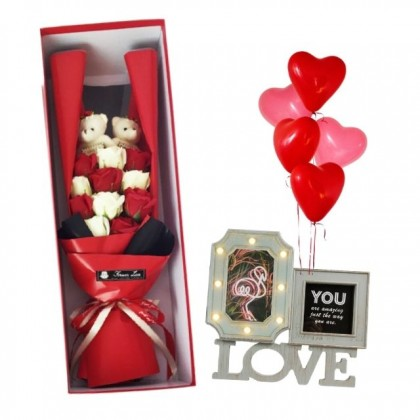 Valentine Package: Keep Our Love Alive with LED Photo Frame and Roses Soap Flowers Gift Box with 5pcs Balloons Set