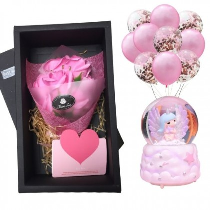 Valentine Package: You are My Angel with Crystal Globe and Roses Soap Flowers Gift Box 10pcs Balloons Set