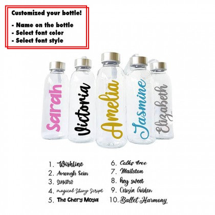 Custom Personalized Name Transparent Glass Water Bottle 300ml Valentine Gift For Him / Her