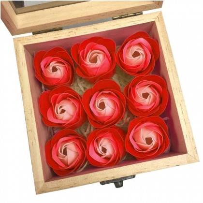 9pcs Soap Roses Flower Gift Preserved Pine Wooden Box With Window