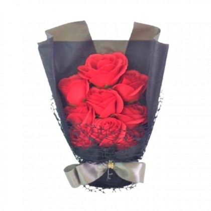S&J Co. Soap Flower 7-Roses Scented Black Bouquet with Luxury Gift Box