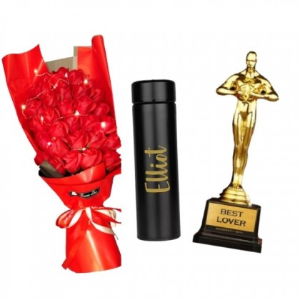 Valentine Package: Valentine Soap Roses Flower and Customized Thermos Flask with Trophy