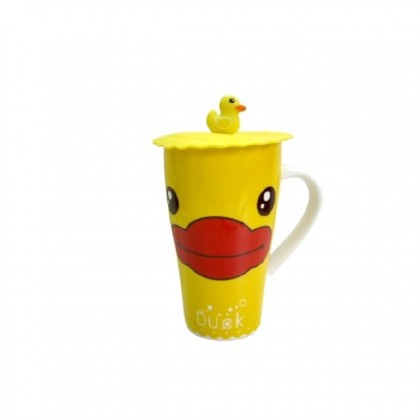Cute Yellow Duck Mug With Rubber Cover Gift For Her Office Use