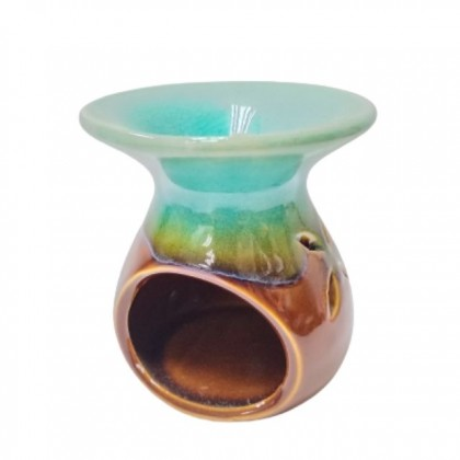 Naturalis Apothecary Round Green Brown Mix Color Ceramic Fragrance Aroma Oil Burner