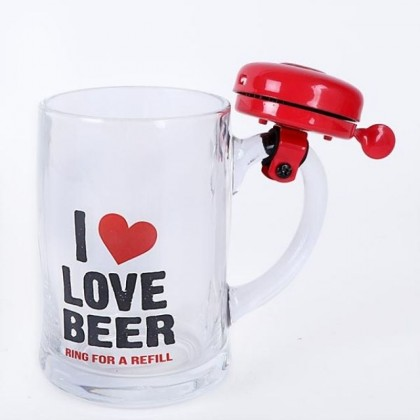 I Love Beer Glass Mug With Ringing Bell