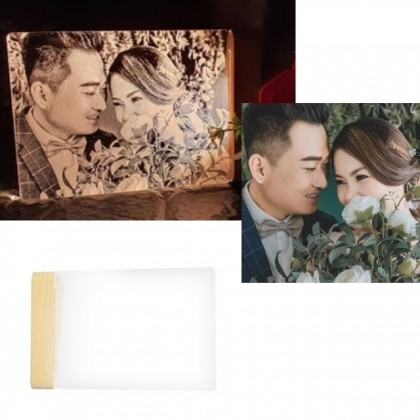 CUSTOMIZE - 3D LED Acrylic Photo Lamp Laser Engraved Wooden Base Gift for Him / Her Custom Text Photo Achievement Award Gift