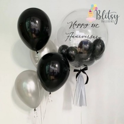 """36"""" Customized Transparent Bubble Balloon with Silver Black Purple Latex Balloons"""