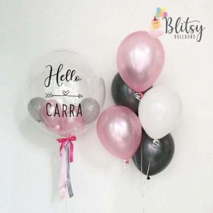 """36"""" Customized Transparent Bubble Balloon with Pink Rose Gold Latex Balloons"""