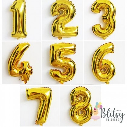 32'' Foil Number Balloons with Gold Black Pink Latex Balloons