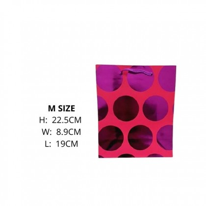 DTP M Size Paper Bag Dot / Birthday / Colorful Flower Series