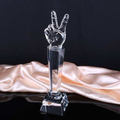 Globe / Peace Victory Glass Trophy For Gift / Awards (Trophy Only / Trophy + Custom Text)