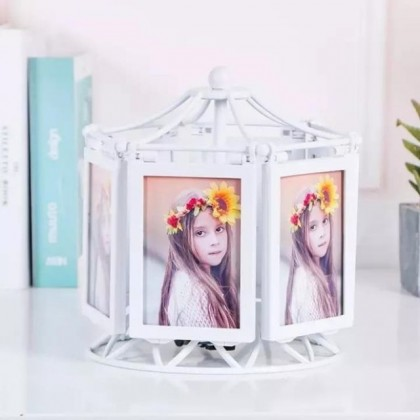Rotating Musical Ferris Wheel Photo Frame 12 Photos 3R Classic White and Vintage Gold