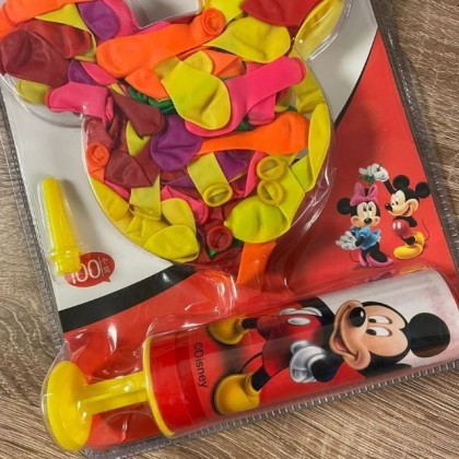 Balloon Kit Pump Mickey Mouse with 100 Balloons Random Color Set