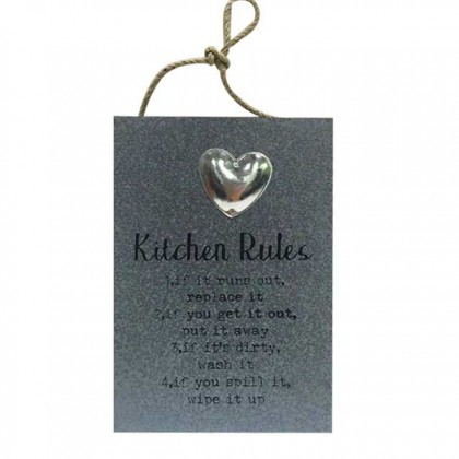 Wooden Hanging Board - House Rules / Kitchen Rules For Kitchen Home Decor Signage Quotes
