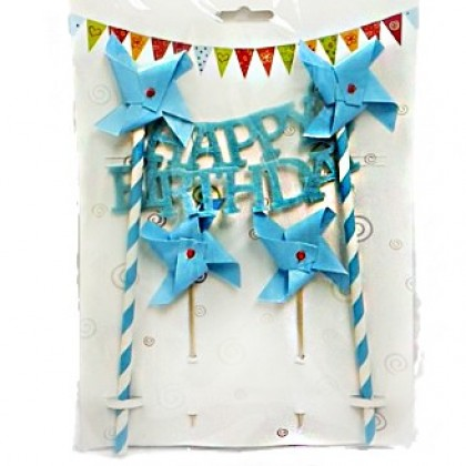 Birthday Party Pennant Cake Topper- Happy Birthday Caribbean Baby Blue Glitter Decoration