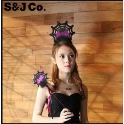 Stylish Halloween Props Party Headband / Hairband Spider Web With Stick