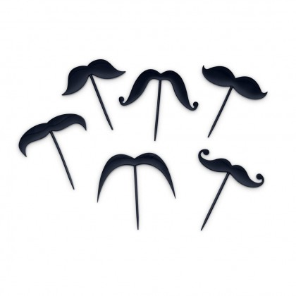 Cute Moustache Cake Topper Toothpicks (Set of 6) Cocktail Party Birthday Decoration Photo Booth Props