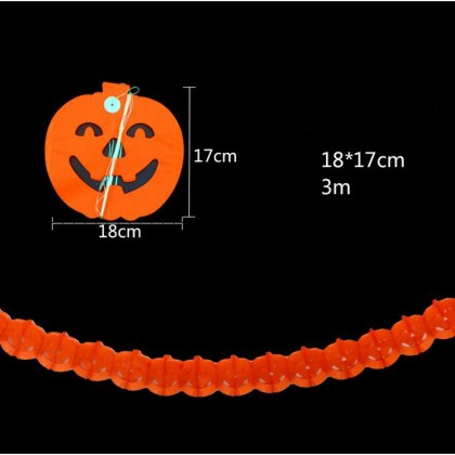 Halloween Pumpkin Shape Paper Chain Garland Party Event Decorations