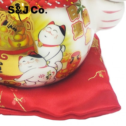 "Chinese New Year CNY Maneki Neko Ceramic Lucky Cat Lucky Hammer/Fortune Cat Gifts (6"")"