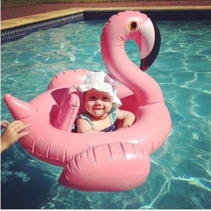 Baby Size Inflatable Pool Floats - Flamingo Pink Kiddie Float