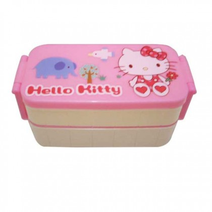 Hello Kitty 2 Layer Lunch Box Bento Picnic (S) Pink & Cream Color