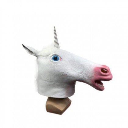 Halloween Party Costume Cosplay White Unicorn Horse Head Latex Mask toys for girls