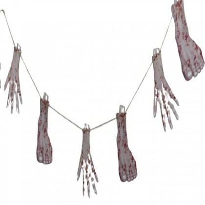 Halloween Hanging Deco Banner Pennant - Scary Bloody Fake Hand & Foot